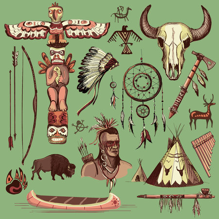 longbow: Collection of hand drawn wild west american indian icons Illustration