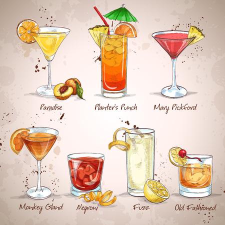 margarita cocktail: Clásicos contemporáneos Cocktail Set Vectores