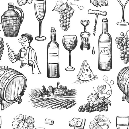 sketch: Hand drawn pattern of wine making