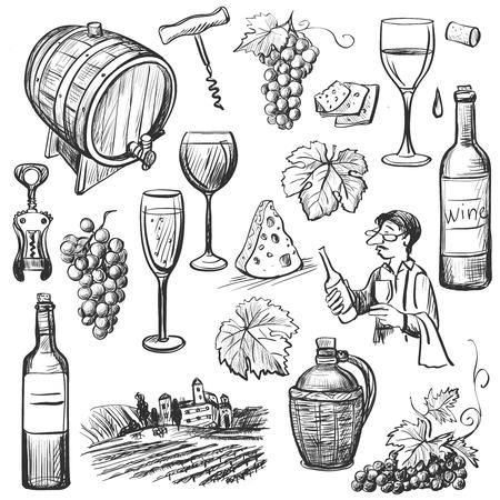 vinho: Mão conjunto de vinho esboço desenhado Ilustração