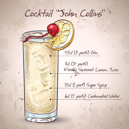 Cocktail John Collins Ilustrace