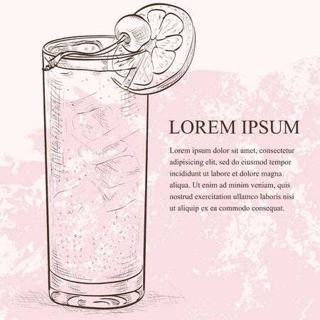 Cocktail John Collins sketch  Ilustrace
