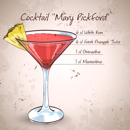 collins: Mary Pickford cocktail Illustration
