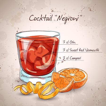 Negroni alcoholic cocktail