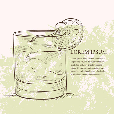 bourbon whisky: Old fashioned cocktail sketch Illustration