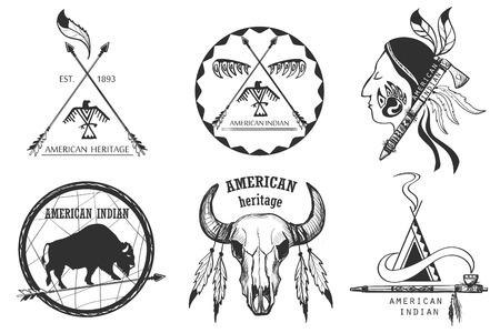 indio americano: Conjunto de emblemas indios americanos