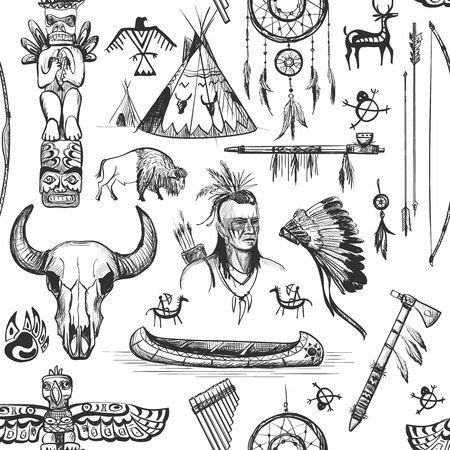 indian old man: Seamless Pattern American Tribal Native Symbols