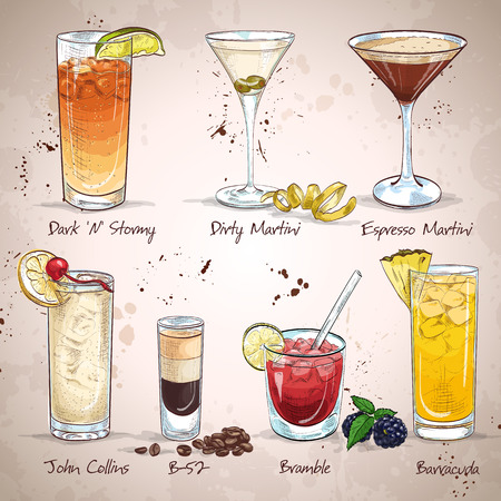 Contemporary Classics Cocktail Set, excellent vector illustration, EPS 10 矢量图像