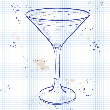 liqueur: Cocktail Espresso Martini on a notebook page, consisting of vodka, coffee liqueur and coffee Illustration