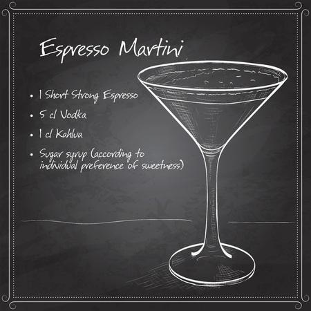 espresso: Cocktail Espresso Martini on black board, consisting of coffee liqueur and coffee