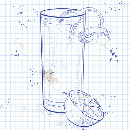 orange blossom: Gin Fizz cocktail consisting of Lime, lemon, sugar syrup, cream, egg, water of orange blossom, vanilla extract, Soda, Orange on a notebook page