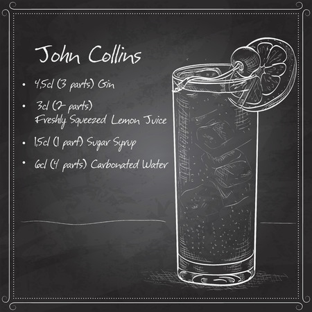 Cocktail John Collins, bestaande uit Jean, Soda, Lemon, Angostura Bitter, ijsblokjes, cocktail kers op zwarte raad
