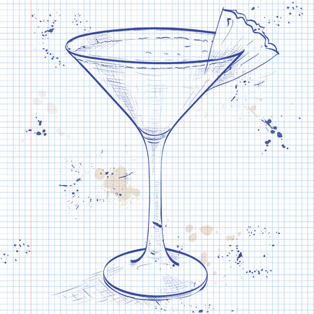 collins: Mary Pickford cocktail, consisting of rum, maraschino liqueur, pineapple juice and grenadine, garnished with a maraschino cherry on a notebook page
