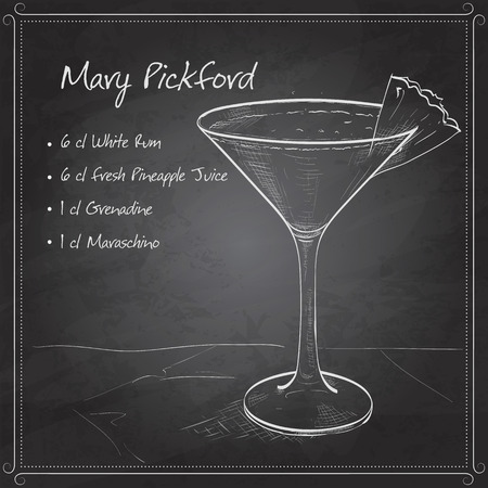 collins: Mary Pickford cocktail, consisting of rum, maraschino liqueur, pineapple juice and grenadine, garnished with a maraschino cherry on black board Illustration