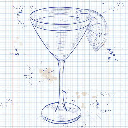 gland: Monkey Gland alcoholic cocktail, consisting of Jean, Orange juice, absinthe, grenadine on a notebook page
