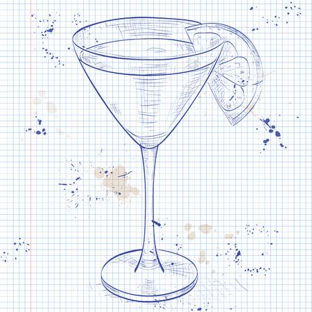 ajenjo: Mono Gl�ndula c�ctel alcoh�lico, que consta de Jean, el jugo de naranja, ajenjo, granadina en una p�gina de cuaderno