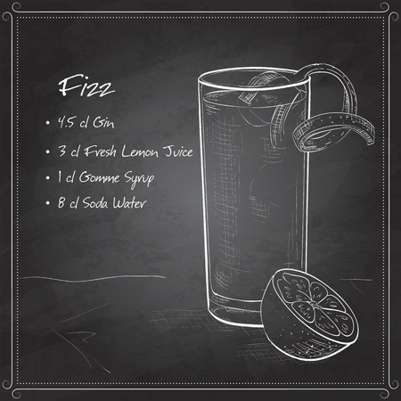 fizz: Gin Fizz cocktail consisting of Lime, lemon, sugar syrup, cream, egg, water of orange blossom, vanilla extract, Soda, Orange on black board Illustration
