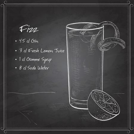 orange blossom: Gin Fizz cocktail consisting of Lime, lemon, sugar syrup, cream, egg, water of orange blossom, vanilla extract, Soda, Orange on black board Illustration