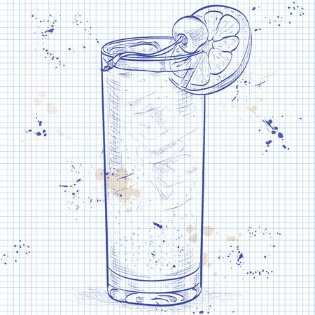 Cocktail John Collins, bestaande uit Jean, Soda, Lemon, Angostura Bitter, ijsblokjes, cocktail kersen op een notebook pagina Stock Illustratie
