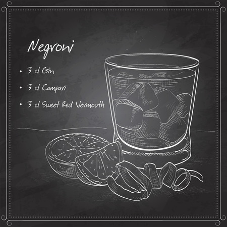 vermouth: Negroni alcoholic cocktail, consisting of Gin, Campari, red vermouth, ice cubes, orange on black board