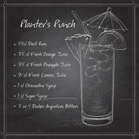 pineapple juice: Planter Punch cocktail, consisting of Dark rum, orange juice, pineapple juice, sugar syrup, Grenadine, Lemon, Angostura Bitter, ice cubes, crushed ice, pineapple, maraschino cherry on black board