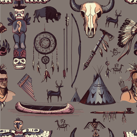 longbow: Seamless Pattern American Tribal Native Symbols with tomahawk, canoe, piece pipe, wigwam, feather headdress, longbow and arrow, brown Illustration