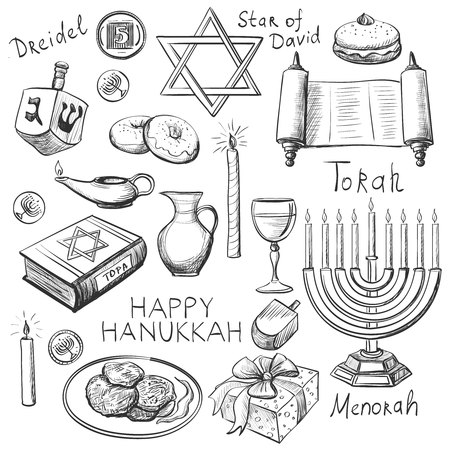 estrella de david: Conjunto de feliz Jánuca elementos diseñado con la palmatoria, estrella de David, torah, menorah, dreidel y regalos Vectores
