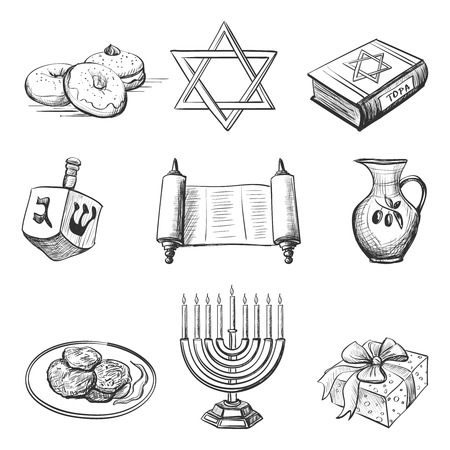 Illustration of set of element for hanukkah with candlestick, star of David, torah, menorah, dreidel and gifts