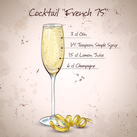 Cocktail French 75, one of the most famous cocktails in the world. Consisting of Gin, Lemon, Sugar Syrup, Champagne. Vektoros illusztráció