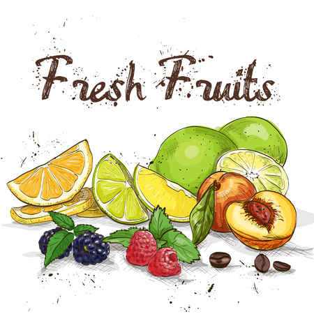 dieting: Mix fruits background. Fresh fruits close up. Healthy eating, dieting concept, clean eating. Illustration