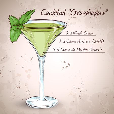 grasshopper: Grasshopper alcoholic cocktail, consisting of Cocoa liqueur, mint liqueur, cream, ice cubes