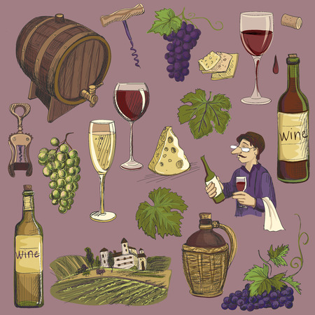 wine grapes: Hand drawn vector set - wine and winemaking. wine objects in round shape bottle, glass, barrel, grapes, corkscrew, cheese, sommelier.