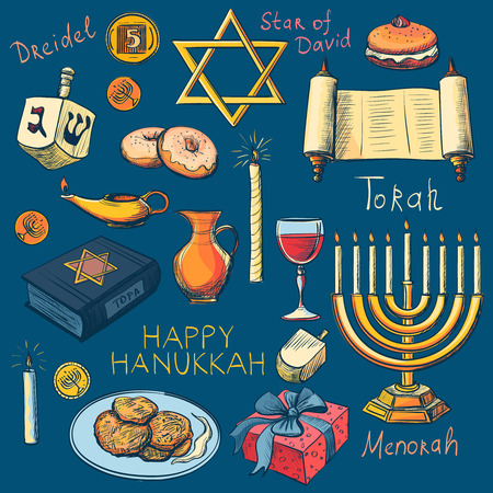 jewish: Hanukkah traditional jewish holiday symbols set - Hanukah, Purim, Pesach, Sukot, Rosh-Hashanah, Shavuot, Simhat-Torah. With candlestick, star of David, torah, menorah, dreidel and gifts