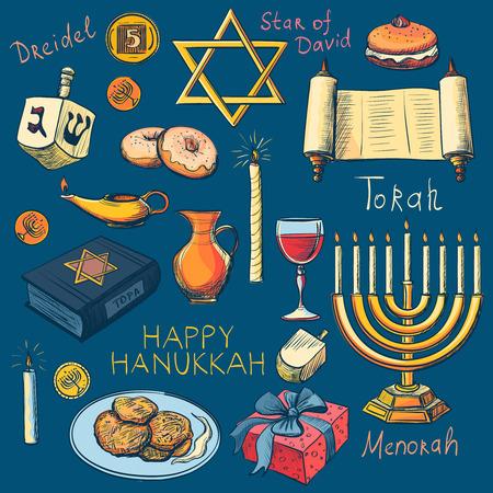 Hanukkah traditionele Joodse vakantie symbolen set - Hanukah, Purim, Pesach, Sukot, Rosh-Hasjana, Sjawoe'ot, Simchat-Torah. Met kandelaar, de ster van David, torah, menorah, dreidel en geschenken Stock Illustratie