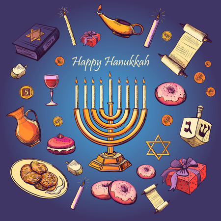 david: Happy Hanukkah holiday greeting background - Hanukah, Purim, Pesach, Sukot, Rosh-Hashanah, Shavuot, Simhat-Torah. With candlestick, star of David, torah, menorah, dreidel and gifts Illustration