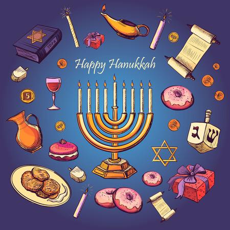 Happy Hanukkah holiday greeting background - Hanukah, Purim, Pesach, Sukot, Rosh-Hashanah, Shavuot, Simhat-Torah. With candlestick, star of David, torah, menorah, dreidel and gifts Illustration