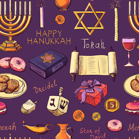 hanukah: Seamless pattern with Hanukkah symbols - Hanukah, Purim, Pesach, Sukot, Rosh-Hashanah, Shavuot, Simhat-Torah. With candlestick, star of David, torah, menorah, dreidel and gifts Illustration