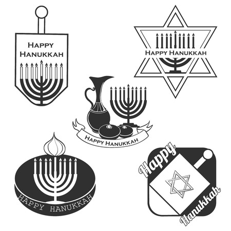 happy hanukkah: Vector collection of labels and elements for Hanukkah, badge and icon typography. Hand drawn lettering of happy Hanukkah logo template. Happy Hanukkah card template. Happy Hanukkah banner, flyer. Illustration