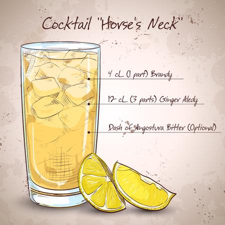 Cocktail Horse Neck. Gemaakt van Light rum, ginger ale, Angostura Bitter, ijsblokjes, citroen