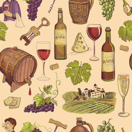 ripened: Wine vintage hand drawn sketch seamless pattern with bottle, glass, barrel, grapes, corkscrew, cheese, sommelier.
