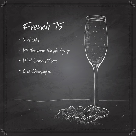 sec: Cocktail French 75 on black board, one of the most famous cocktails in the world.  Consisting of Gin, Lemon, Sugar Syrup, Champagne.