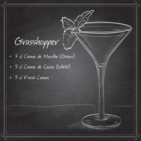 liqueur: Grasshopper alcoholic cocktail on black board, consisting of Cocoa liqueur, mint liqueur, cream, ice cubes Illustration