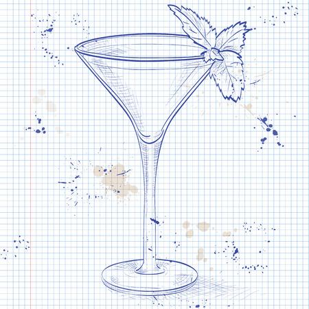 fiambres: Saltamontes cóctel alcohólica en una página de cuaderno, que consta de cacao licor, licor de menta, crema, cubos de hielo