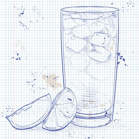 Cocktail Horse Neck op een notebook pagina. Gemaakt van Light rum, ginger ale, Angostura Bitter, ijsblokjes, citroen Stock Illustratie