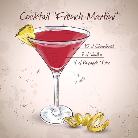 pineapple juice: French Martini cocktail, consisting of vodka, raspberry liqueur and freshly squeezed pineapple juice