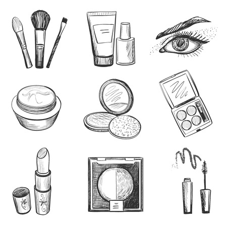 Hand drawn makeup icons, such as mascara, lipstick, creams, nail polish, powder, eye shadow, blush, brushes, glitter, lip 矢量图像