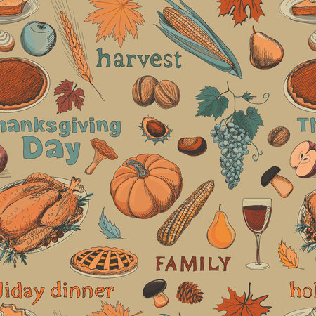 Hand drawn seamless pattern thanksgiving with turkey, pie, pumpkin and vegetables