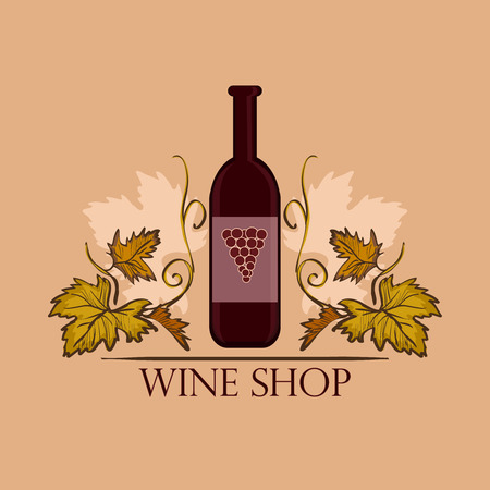 winemaking: Hand drawn Wine label with bottle. Winemaking concept