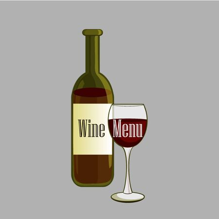 drink bottle: Hand drawn Wine label with bottle and glass of wine. Winemaking concept