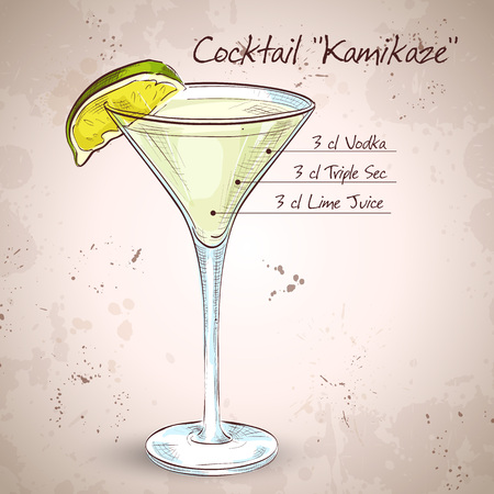 collins: Kamikaze alcohol cocktail, consisting of Vodka, orange liqueur, lime Illustration